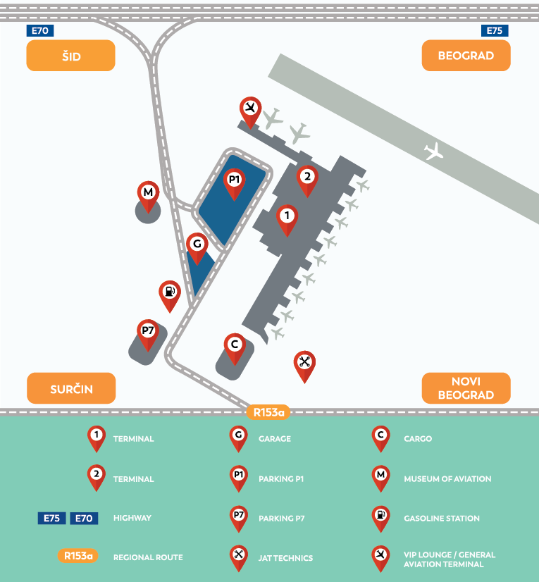 Entrance and parking map